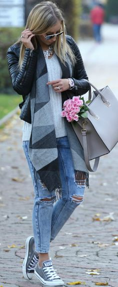 Gray Scarf Fall Street Style Inspo by Style and Blog