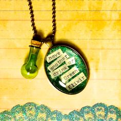 Wicked the Musical Inspired Necklace, Elphaba, Wizard of Oz, Green Elixir, Mini Potion Bottle. $20.00, via Etsy.
