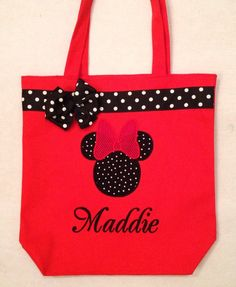Personalized Minnie Mouse Tote bag by MyDesertCutie on Etsy https://www.etsy.com/listing/66519221/personalized-minnie-mouse-tote-bag