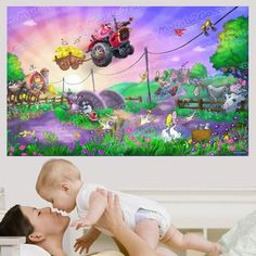 Wallhogs Funny Farm Wall Mural Size: Poster Wall, Poster Prints, Funny Farm, Wood Panel Walls, Wall Murals, Wall Decal, Green And Purple, Barn Wood, Decorative Pillows