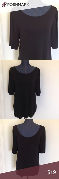"""️Banana Republic top Banana Republic stretchy casual black top with half sleeves and lower scoop in back. 20.5"""" across chest, 18"""" across waist, 27"""" long. 94% modal, 6% spandex. Banana Republic Tops"""