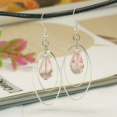 Fashion Glass Earrings, with Brass Oval Rings and Brass Earring Hooks, Pink, 65mm