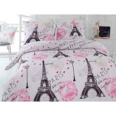 Pink Black/White Paris Postmarks Eiffel Tower Themed Duvet Cover Set