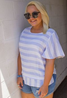 PLUS: Blue Skies and Sunshine Top: Pale Blue-White