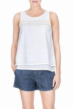 Thisvoile features adouble layer which is nice and opaque but still light enough for warm summer days. It also features acotton trim which accents this special top.  Double Layer Shell by Lilla P. Clothing - Tops - Tees & Tanks Clothing - Tops - Sleeveless Clothing - Tops - Casual District of Columbia
