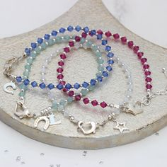 perfect gifts for your bridesmaids or flowergirls. Find the exact crystal that matches your wedding colour scheme. Then personalise the bracelet for a thoughtful keepsake gift Gift Wedding, Wedding Jewelry, Wedding Color Schemes, Wedding Colors, Other Accessories, Jewelry Gifts, Bridesmaids, Beaded Necklace, Barn