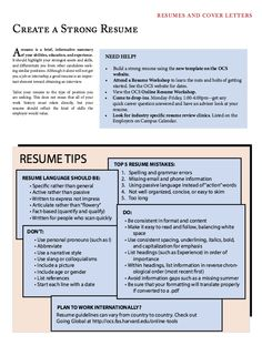 create a strong resume httpexampleresumecvorgcreate a - Strong Resume