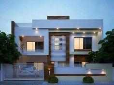 Duplex House Plans, Bungalow House Design, House Front Design, Modern House Design, Exterior Wall Design, House Elevation, Front Elevation, Free House Plans, Dream House Exterior