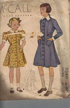 Vintage 1930's Girl's Dress Sewing Pattern, McCall 9040, Size 10