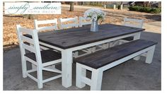 7 ft. farmhouse table with 4 x 4 legs, 6 ft. bench & 5 handmade ladder back chairs ~ Simply Southern Home Decor