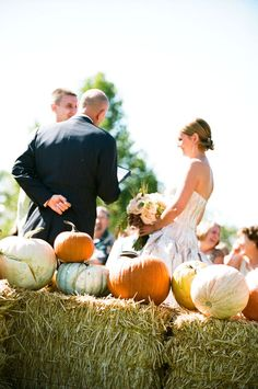 straw bales and pumpkins