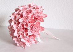 Wedding Origami Paper Flower Bouquet  pink and white by AnyaShop - really pretty and unique :)