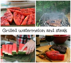 grilling watermelon and steak. Remove watermelon from rind. lightly sea salt both sides. Let sit for 20 minutes. Brush both sides with Olive oil. Grill both side for about 3 1/2 minutes.