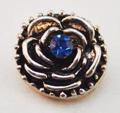 12mm Snap - Flower, Rose, Blue Crystal