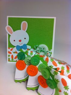 Easter Bunny Card and carrot treat containers embellished with buttons.