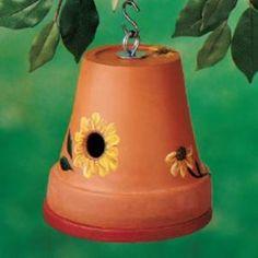 http://www.birdsandblooms.com/Backyard-Projects/Birdhouses/Flowerpot-Birdhouse
