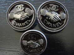 "ButtonArtMuseum.com - Chanel 2 Silver Brown Enamel ""Coco Handshake"" Buttons Brand New"