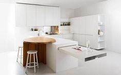 table cuisine blanche minimaliste- plateau extensible peu encombrant