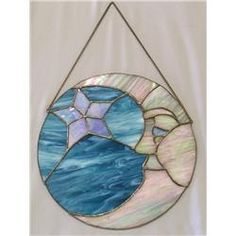 Round Stained Glass Moon & Star Design 10.25''