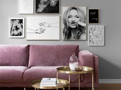 Fabolous Velvet Sofa Design Ideas for Living Rooms Sofa Design, Wall Design, Interior Design, Pink Velvet Sofa, Purple Sofa, Velvet Lounge, Gallery Wall Frames, Frames On Wall, Gallery Walls
