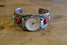 Vintage Native American Sterling Silver Coral and Turquoise Watch Cuff Signed Coral Stone, Silver Brooch, Vintage Turquoise, Indian Jewelry, Watch Bands, Native American, Cuff Bracelets, Gap, Sterling Silver