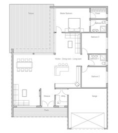 Contemporary Home Plan with three bedrooms, big windows and abundance of natural light.