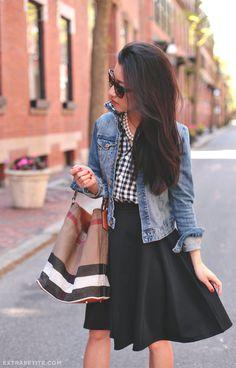 Women's street fashion | Painted Threads skirt, Crewcits gingham shirt, Burberry bucket bag, Kate Spade pumps, H&M jacket | ExtraPetite.com