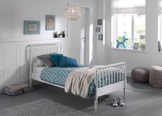 Children's metal single modern style bed in Black - also available as a small double. Perfect for adding a splash of colour to your kids room decor. Childrens Single Beds, Kids Single Beds, Girl Bedroom Designs, Girls Bedroom, Bedrooms, Bed End, Bed Styling, White Bedding, Bed Sizes