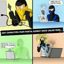 This is why no mortal kombat person uses a laptop Mortal Kombat Comics, Mortal Kombat Memes, Mortal Kombat Xl, Snake Eyes Gi Joe, Mortal Combat, Mileena, The Evil Within, Funny Me, Funny Stuff