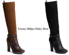 NEW In Tommy Hilfiger Hailey Boot  High boot in a slim styling with pointed toe. Leather upper on the shoe, suede inset at the shaft. Accent straps around the ankle with Tommy Hilfiger branding on the brass-coloured hardware. Signature heel tab. Textile lining, leather sock lining. Rubber outsole with 10.8 cm heel... https://www.facebook.com/pages/Fashion-Trends-and-Discounts/137797606390386?ref=hl