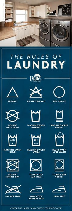 Take the confusion out of laundry and your clothing laundry labels! Our printable guide to laundry decodes and helps you protect your delicates and explains which detergent to use with different fabrics. Pulte Homes, Laundry Solutions, Laundry Hacks, Laundry Business, Laundromat Business, Laundry Labels, Laundry Symbols, Home Protection, New Home Builders