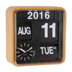 Karlsson Mini Flip Calendar Wall Clock - Wood