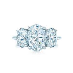 Tiffany three stone oval diamond ring   B-BRIGHTER.COM