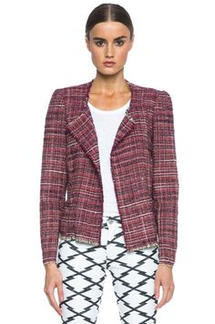 Isabel Marant Etoile Gaylord Summer Cowens Cotton-Blend Jacket in Red