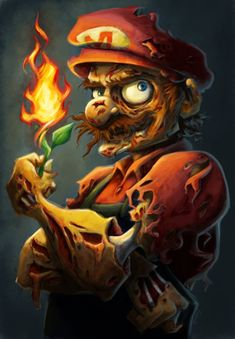 Zombie Mario by Amanda Dockery-Creepy but at the same time so cool. They should definitely bring out Mario Zombies, it would rock my socks. Zombie Kunst, Art Zombie, Zombie Cartoon, Cartoon Art, Anime Zombie, Drawing Cartoon Characters, Anime Characters, Arte Horror, Horror Art