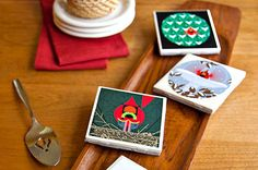 Ceramic Tile Coasters - Go green this year by recycling old holiday cards or decorative paper into DIY coasters. These make nice gifts, favors or festive accents for your home!
