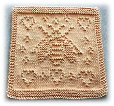 Ravelry: Save The Bees pattern by Lisa Vienneau Knitted Squares Pattern, Knitted Dishcloth Patterns Free, Knitting Squares, Knitted Washcloths, Crochet Dishcloths, Knitted Blankets, Loom Knitting, Knitting Stitches, Knitting Patterns Free
