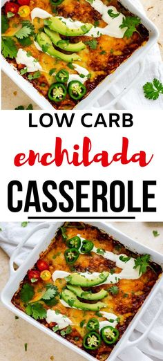 Easy keto casseroles don't get any tastier than this Low Carb Enchilada Casserole.  This easy chicken dish is made with red sauce is a delicious dinner that the whole family will love.  The perfect easy way to get your fix for Mexican food in! #kickingcarbs #ketocasseroles #ketoenchiladacasserole #ketodinner #lchf