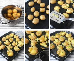 Krossad potatis New Recipes, Veggies, Food And Drink, Yummy Food, Dessert, Vegan, Baking, Breakfast, Ethnic Recipes
