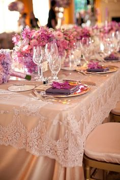 lace overlay wedding reception decor with lavender rose centerpieces and silver charger plate Lilac Wedding, Trendy Wedding, Wedding Colors, Our Wedding, Wedding Flowers, Dream Wedding, Elegant Wedding, Wedding Reception Decorations, Wedding Table