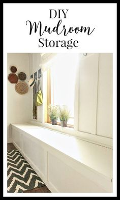 DIY mudroom storage. Its easier than you think and will keep your shoes and backpacks organized for years to come. | http://Twelveonmain.com #mudroom #farmhousedecor #diyprojects