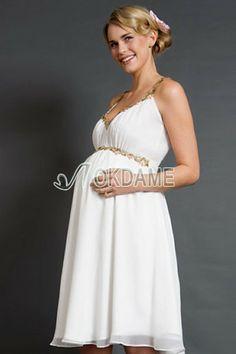A-Line glamouröses knielanges legeres Brautkleid mit Empire Taille mit Applike