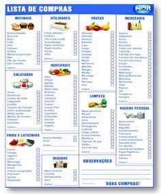 tabela de compras domésticas - Pesquisa Google