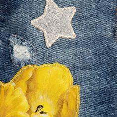 Dolce & Gabbana - Baby Girls Blue Jeans with Yellow Tulip Appliqué | Childrensalon