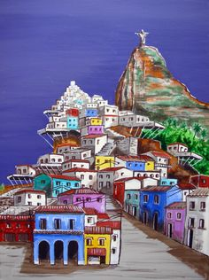 """Favela colors Rio de Janeiro Brazil Corcovado, Original Painting on canvas,18""""x 24"""", Free Shipping in USA. by ArtCalifornia on Etsy https://www.etsy.com/listing/194969736/favela-colors-rio-de-janeiro-brazil"""