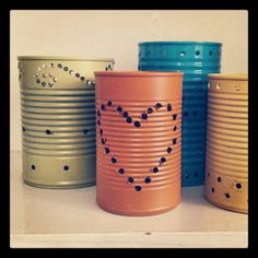 "Tin can lanterns. Handmade decor for our ""tin"" (10) year anniversary party!"