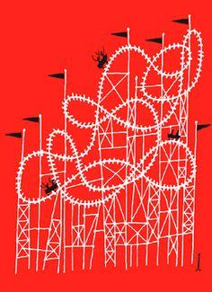 Klas Fahlen Roller Coaster art poster