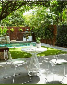 Small Backyard Landscaping, Tropical Landscaping, Landscaping Ideas, Backyard Ideas, Patio Ideas, Tropical Garden, Pool Ideas, Tropical Pool, Pavers Ideas