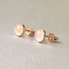 Tiny Rainbow Moonstone stud earrings in Rose Gold plated on Sterling Silver Bezel Setting by emijewels on Etsy (null)