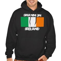 7228ef818 Shannon, Ireland with Irish flag Hooded Pullover Grunge, Hooded Sweatshirts,  Pullover Hoodie,